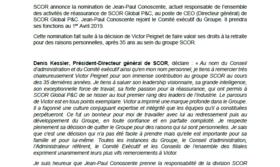 Jean-Paul Conoscente est promu au poste de Directeur général de SCOR Global P&C et rejoint le Comité exécutif de SCOR