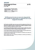 Visual for SCOR poursuit la mise en oeuvre du dispositif de part variable du salaire grâce au jugement de la Cour d'appel de Versailles
