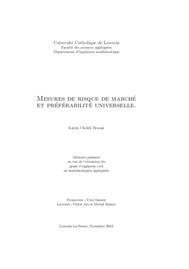 Visual for Mesures de risque de marché et préférabilité universelle