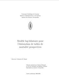 Visual for Actuarial award 2005 - France - Modèle log-bilinéaire pour l'élaboration de tables de mortalité prospectives
