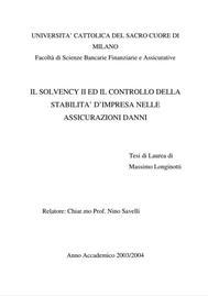 Visual for Il Solvency II ed il Controllo della Stabilità d'Impresa nelle Assicurazioni Danni