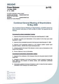 Visual for Combined General Meeting of Shareholders 16 May 2006
