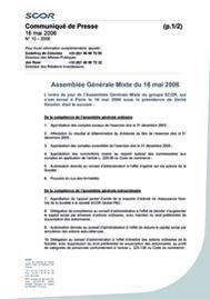 Visual for Assemblée Générale Mixte du 16 mai 2006