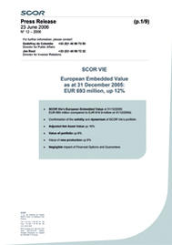 Visual for SCOR Global Life's2005 Embedded Value