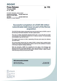 Visual for Successful completion of a EUR 350 million subordinated debt issue as part of the Revios acquisition