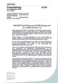 Visual for AM BEST raises the SCOR Group rating to « A-, stable outlook » - German version