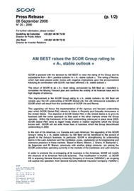 Visual for AM BEST raises the SCOR Group rating to « A-, stable outlook »