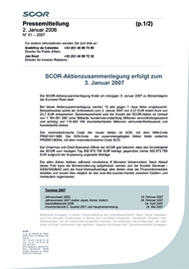 Visual for SCOR Share Consolidation to take place on 3 January 2007 - German version