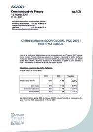 Visual for Chiffre d'affaires SCOR GLOBAL P&C 2006 : EUR 1 753 millions