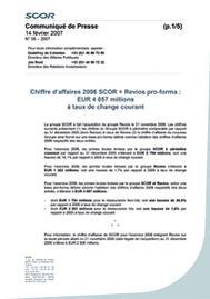 Visual for Chiffre d'affaires 2006 SCOR + Revios pro-forma : EUR 4 057 millions à taux de change courant