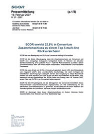 Visual for SCOR acquires 32.9% of Converium to create a Top 5 global multi-line reinsurer - German version