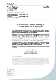 Visual for Extraordinary General Meeting of shareholders on 26 April 2007