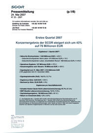 Visual for SCOR's 2007 first quarter results - German version