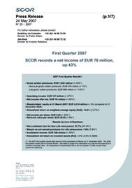 Visual for SCOR's 2007 first quarter results