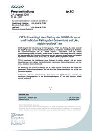 "Visual for FITCH affirms the rating of the SCOR group and upgrades the rating of Converium to ""A-, stable outlook"" - German version"