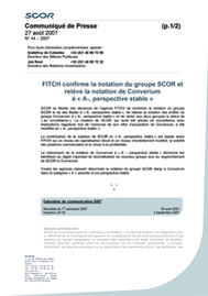 Visual for FITCH confirme la notation du groupe SCOR et relève la notation de Converium à « A-, perspective stable »