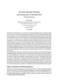 Visual for Actuarial award 2008 - Germany - Stochastic Mortality Modelling and Securitization of Mortality Risks