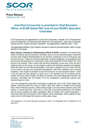 Visual for Jean-Paul Conoscente is promoted to Chief Executive Officer of SCOR Global P&C and will join SCOR's Executive Committee