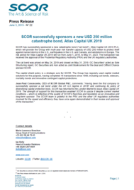 Visual for SCOR successfully sponsors a new USD 250 million catastrophe bond, Atlas Capital UK 2019